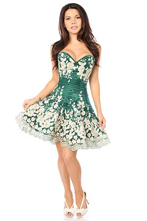 lace accent corset dress for tightlacing at